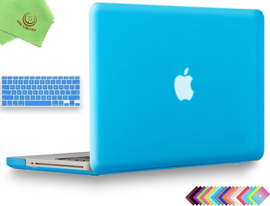 UESWILL 2in1 Smooth Soft Touch Matte Hard Shell Case with Silicone Keyboard Cover Compatible with MacBook Pro 13 inch with CD-ROM (Non-Retina) (Model A1278) + Microfibre Cleaning Cloth, Aqua Blue