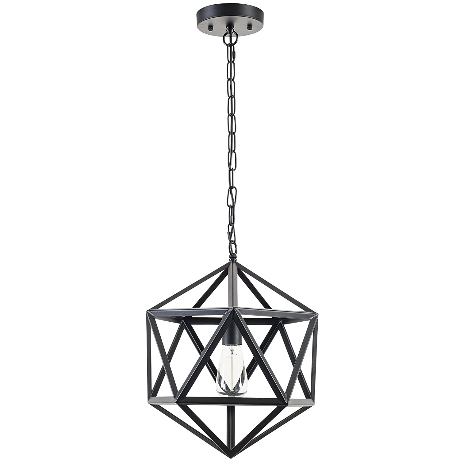 Light Society Geodesic Pendant Light, Matte Black, Geometric Vintage Modern Industrial Lighting Fixture LS-C110