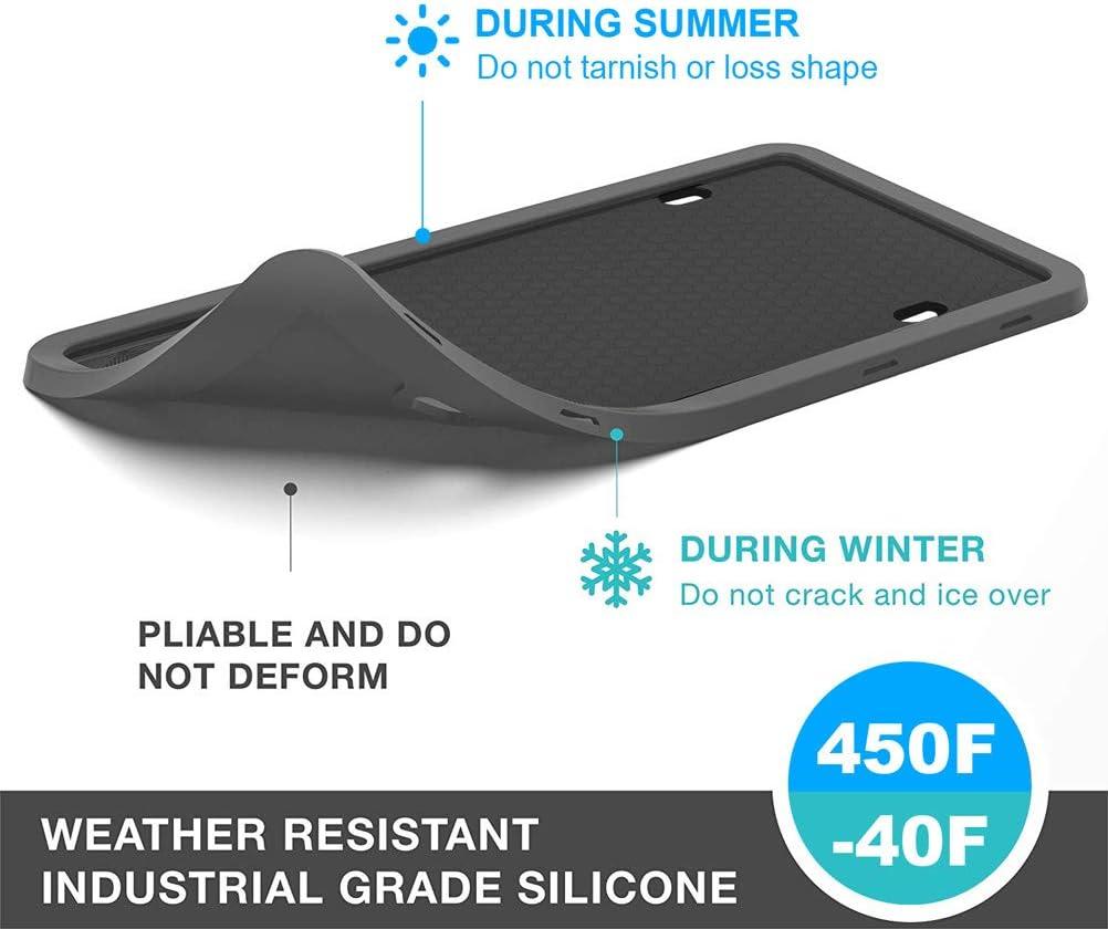 Weather-Proof IKADEER License Plate Frame Rattle-Proof Silicone License Plate Frames Rust-Proof