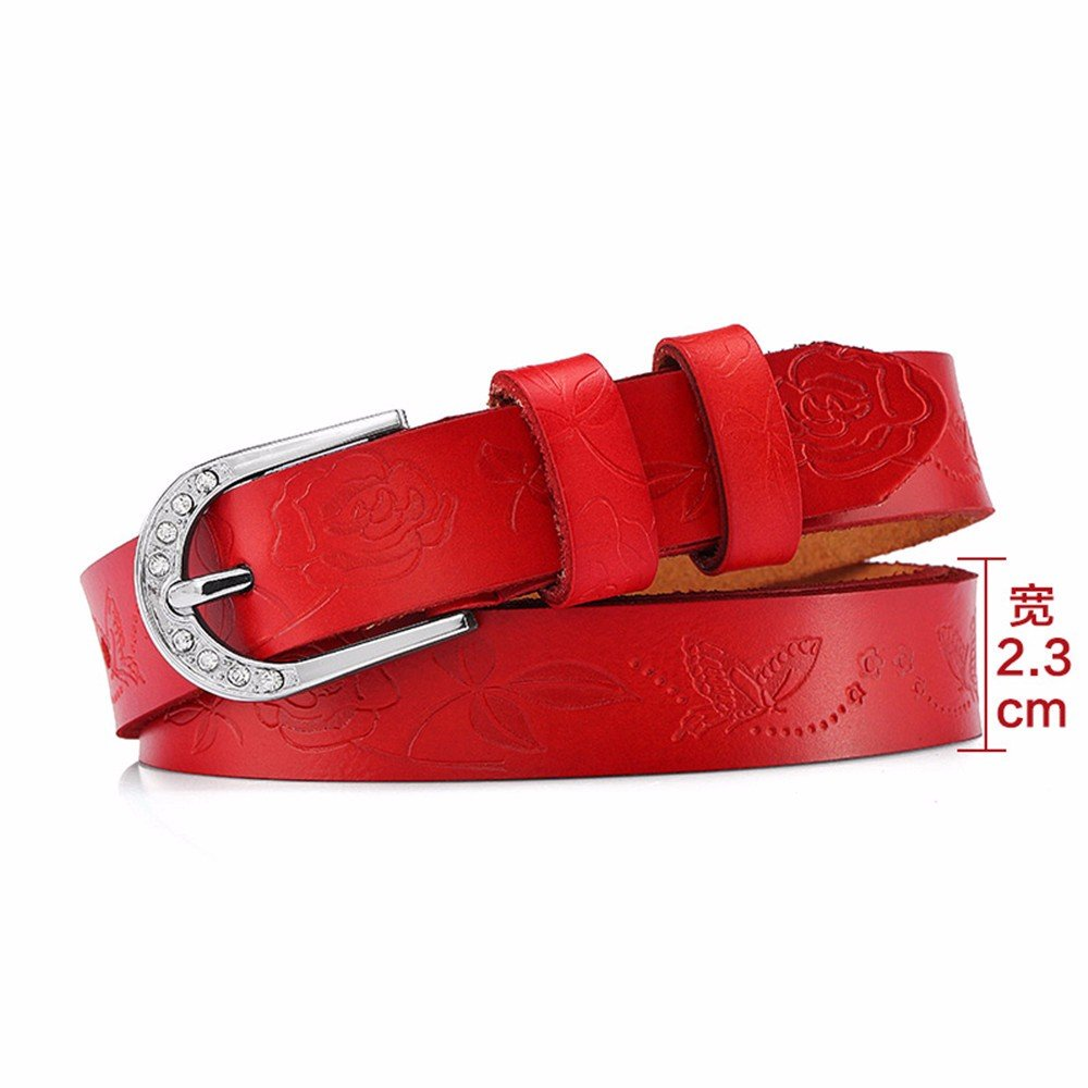 SAIBANGZI Ms Women All Seasons Fashion Diamond Embossed Leather Women'S Belts Fine Casual Decorative Jeans Women'S Belts Girlfriend Present Red 92-102Cm