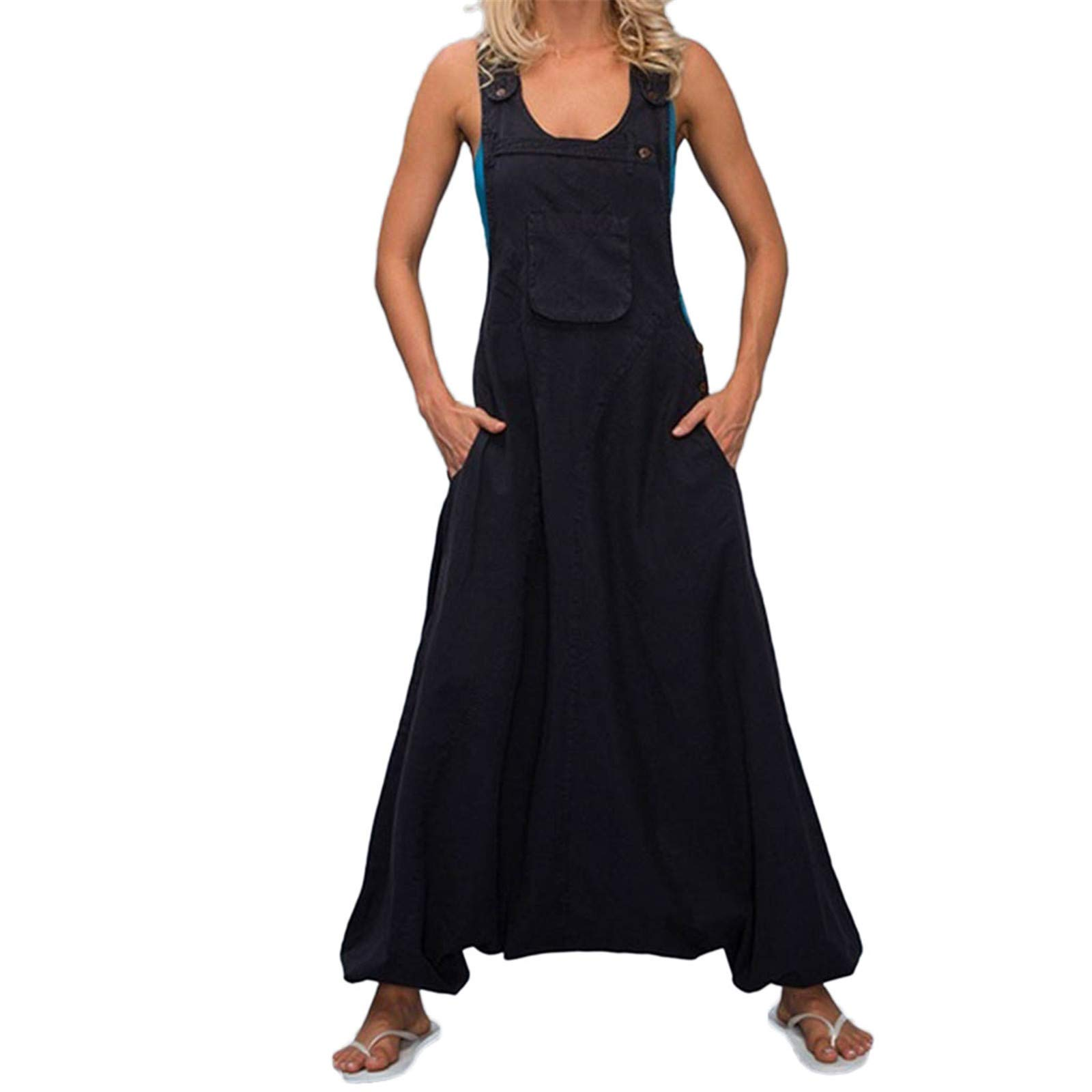 Thenxin Plus Size Womens Overalls U Neck Sleeveless Racerback Side Pockets Baggy Long Jumpsuits(Black,XXXXXL)