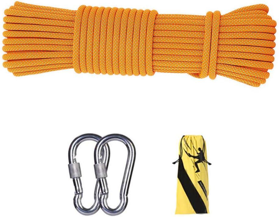 12ミリメートル屋外クライミング安全ロープ、ハイキングのための2 *カラビナ多機能ナイロン洗濯物が付いている家の緊急の脱出ロープキャンプ工学救助用具、オレンジ,45m