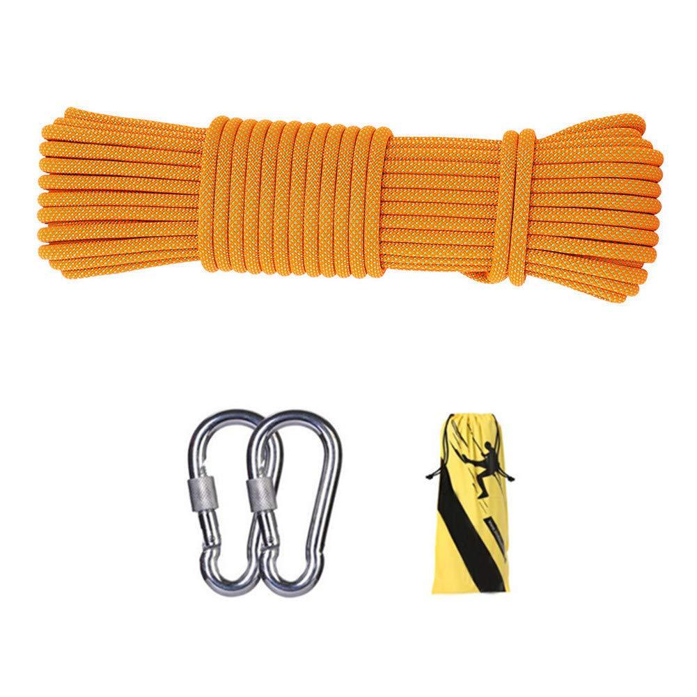 12ミリメートル屋外クライミング安全ロープ、ハイキングのための2 *カラビナ多機能ナイロン洗濯物が付いている家の緊急の脱出ロープキャンプ工学救助用具、オレンジ,60m