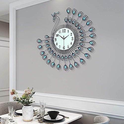 "FT 25.5"" Large Metal Peacock Wall Clock Decorative Wall Decor"