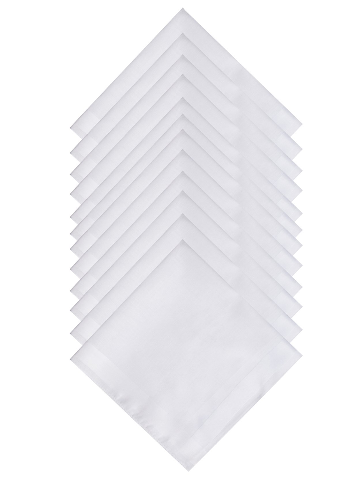 The Forest Saver Pure Cotton Men's Handkerchief/Hankies with Hem White, 12 pack, 16''x16''