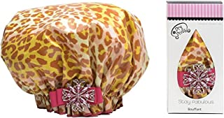 product image for Dry Divas Designer Shower Cap For Women - Washable, Reusable - Large Bouffant Cap With Vintage Jeweled Brooch (Dash'n Diva)