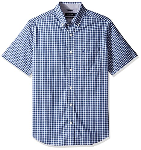 Nautica Men's Wrinkle Resistant Short Sleeve Plaid Button Down Shirt, Maritime Navy, Small