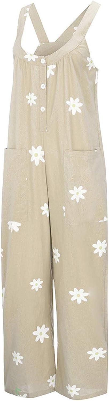 Katesid Women Casual Loose Dungarees Daisy Print Summer Sleeveless Jumpsuit Playsuit