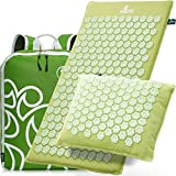 New Version Professional Acupressure Mat and Pillow Set Natural Linen – Best Acupuncture Mat Gift – Back And Neck Pain Relief Reflexology Mat – For Women And Men - Stress and Muscle Relief