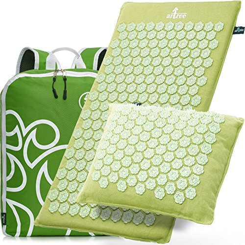 New Version Professional Acupressure Mat and Pillow Set Natural Linen – Best Acupuncture Mat Gift – Back and Neck Pain Relief Reflexology Mat – for Women and Men - Stress and Muscle Relief (Green) by Artree