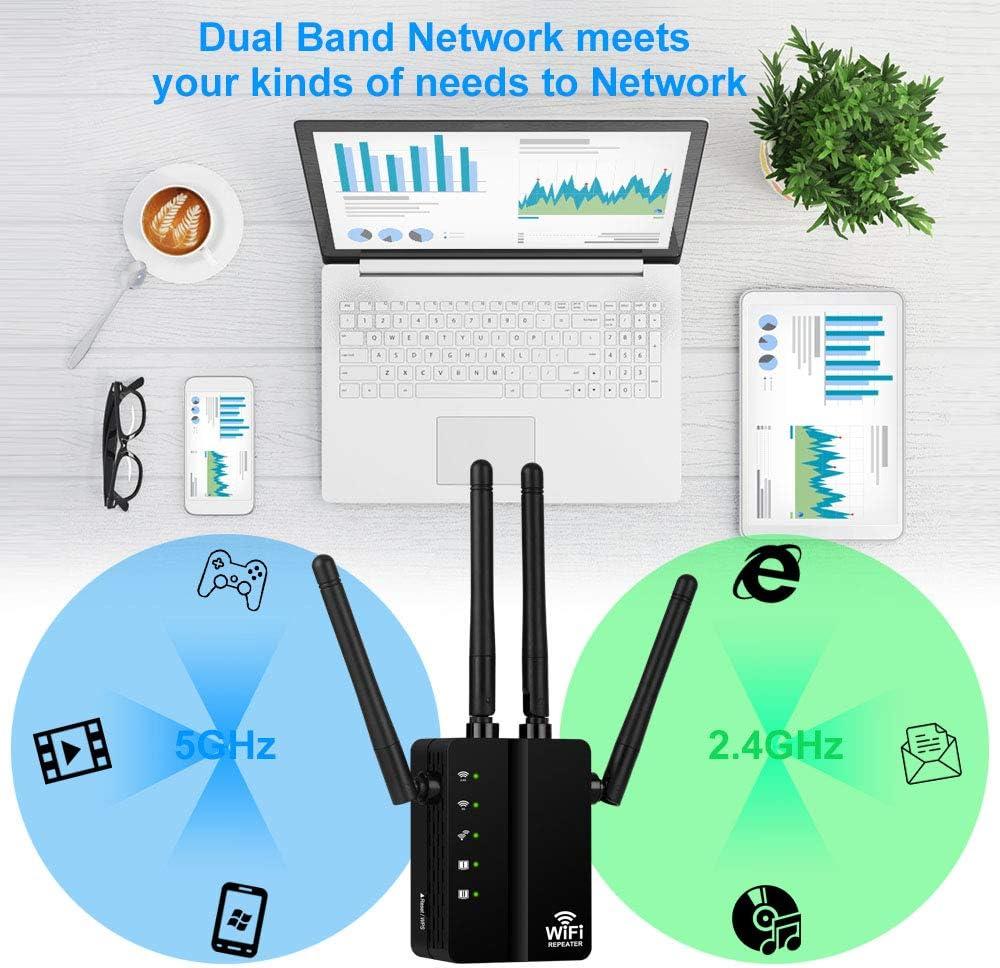 Aigital WiFi Repetidor 1200Mbps Amplificador Señal de WiFi Extensor de Red Doble Banda 2.4GHz & 5G, WiFi Booster Inalámbrico Punto Acceso con 4 ...