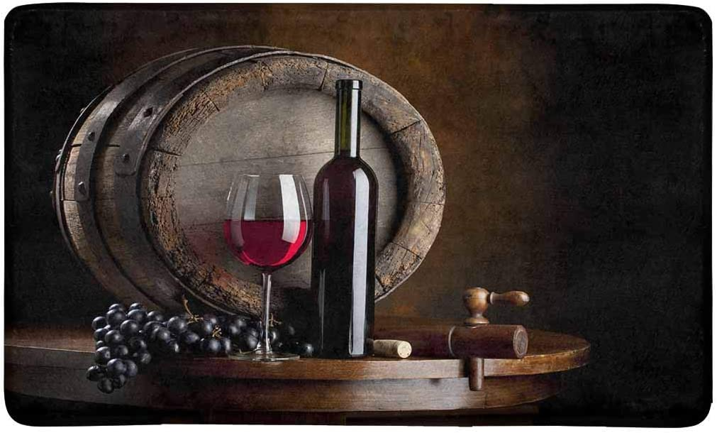 INTERESTPRINT The Still Life with Red Wine, Bottle, Glass and Old Barrel Doormat Non Slip Indoor Outdoor Doormat Floor Mat Home Decor, Entrance Rug Rubber Backing 30 L x 18 W