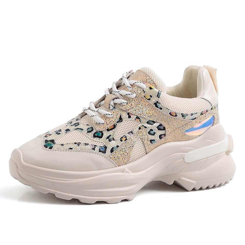 blanc XLY femmes Fashion Multimaterial Daddy paniers, Couleurblock High High High Platform Comfortable Chunky Chaussures 868