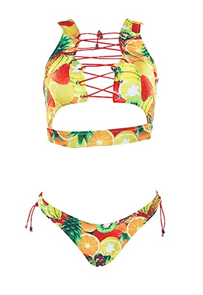 48336b7bba217 Women's 2 Pieces African Print Bathing Suit Bikini Set Lace up Padded Thong  Swimsuit (S