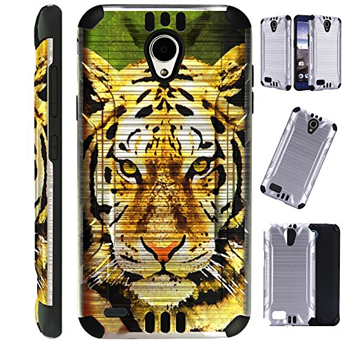 for Cricket Wave (2018) Case Brushed Metal Texture Hybrid TPU Silver Guard Phone Cover (Tiger FF) -