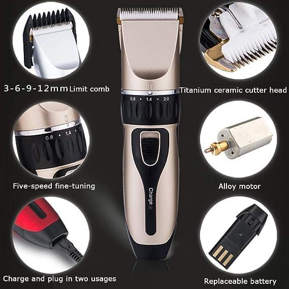 Electrónico Cortapelos Profesional Hombre Maquina Cortar Pelo Profesional Recargable Recortadora de Pelos para Hombres, Cuchillas de Cerámica,Oro: Amazon.es: Hogar