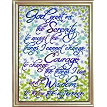 Tobin DW2814 14 Count Counted Cross Stitch Kit, 12 by 16-Inch, Serenity Prayer Floral