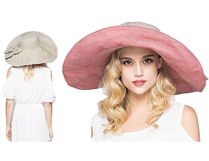 Womens Summer Sun Hats Reversible Outdoor Wide Brim Beach Travel Hat  Foldable Pink 9c803884fda0