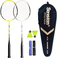 Senston Set di 2 Racchette per Badminton, con Carry Case Borsa per Racchette,Grafite Racchetta di Volano,Set Racchetta da Badminton