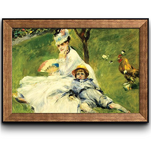 Madame Monetand her Son by Pierre Auguste Renoir by Claude Monet Framed Art