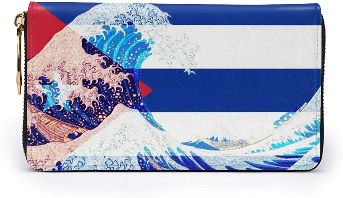 Cuba Flag And Wave Off Kanagawa Womens RFID Blocking Zip Around Wallet Genuine Leather Clutch Long Card Holder Organizer Wallets Large Travel Purse