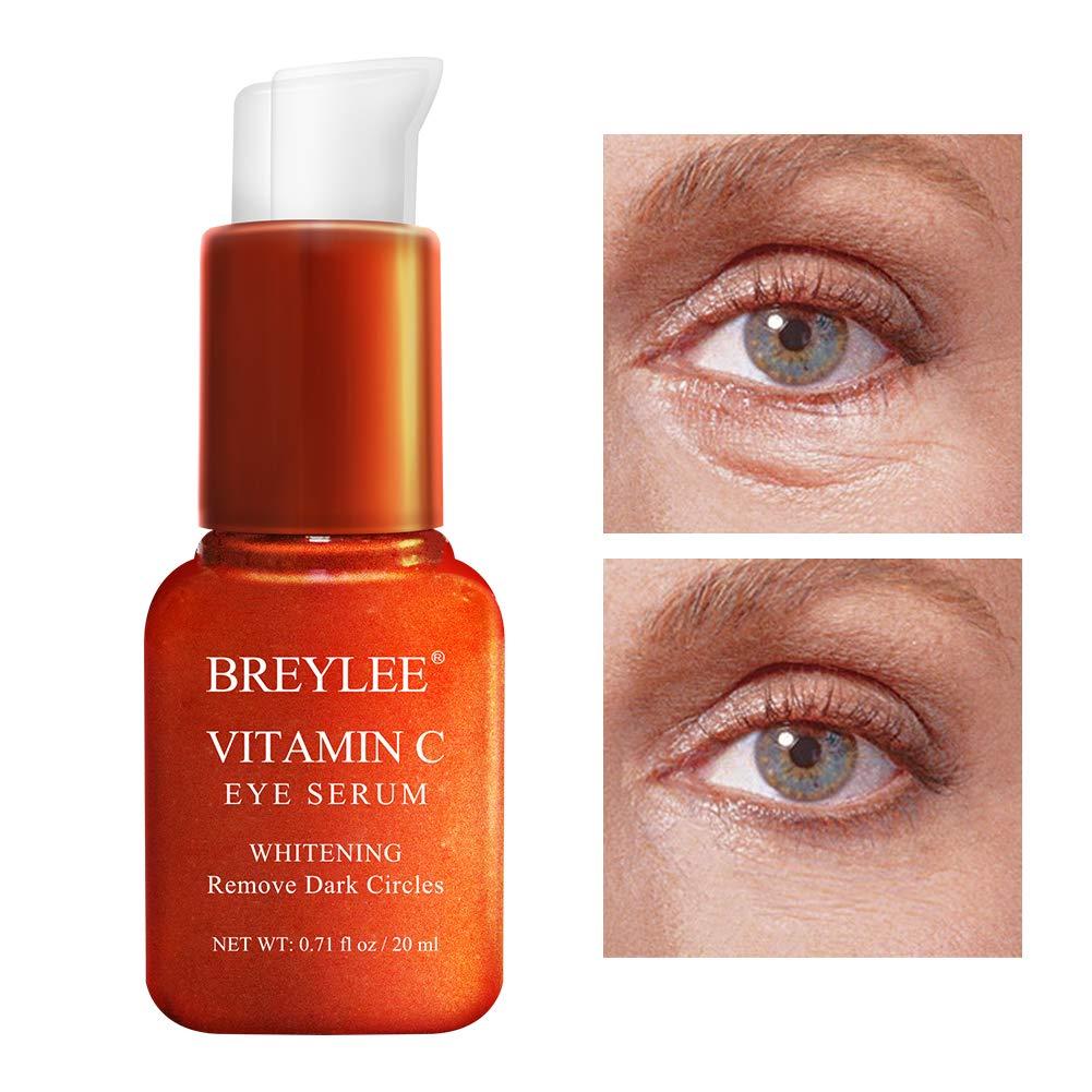 Vitamin C Eye Serum, BREYLEE Eye Treatment for Dark Circles and Wrinkles Removal Anti Aging Moisturizing Eye Essence for Fine Lines Organic Eye Care with Hyaluronic Acid(20ml,0.71fl Oz)