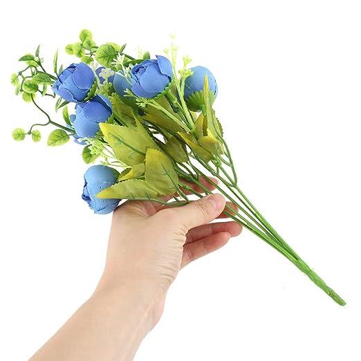 Amazon.com: eDealMax crisol plástico dormitorio arte de DIY decorativo simulación Artificial de Rose Flor Azul: Home & Kitchen