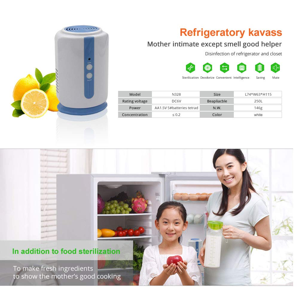 Ozone Generator,Mini Fridge Freezer Freshener, Air Purifier Air Cleaner,Odor Allergies Allergen Eliminator Cleaner for Room, Home, Pets, Smoke, Dust, Smokers,Fridge,Toilet,Shoe Cabinet Deodorizer