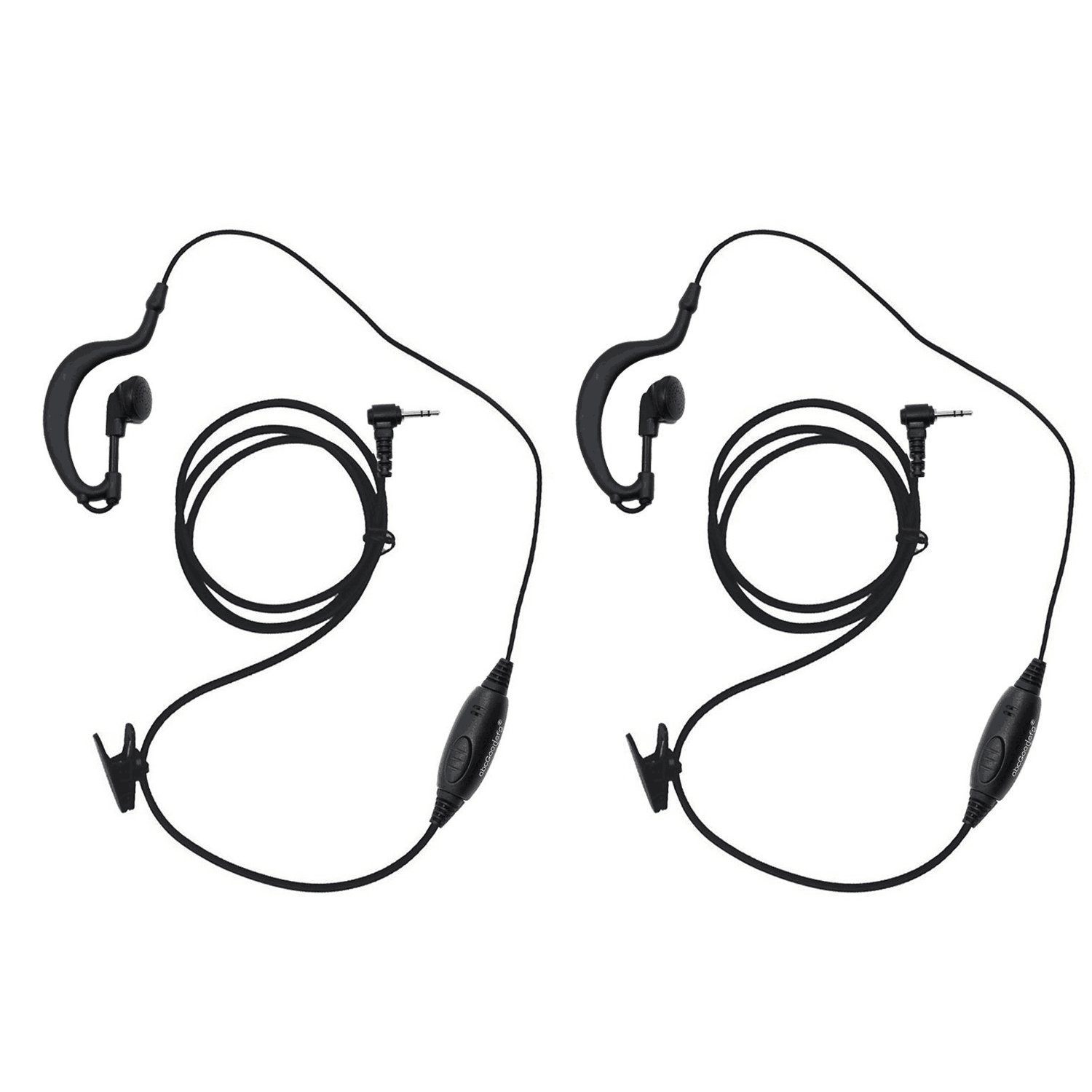 abcGoodefg G Shape Clip-Ear Headset Earpiece Mic for Motorola Talkabout MD200TPR MH230R MR350R MS350R MT350R MG160A MH230TPR MS350R MJ270R 2 Two Way Radio Walkie Talkie 1-pin (2Pack)