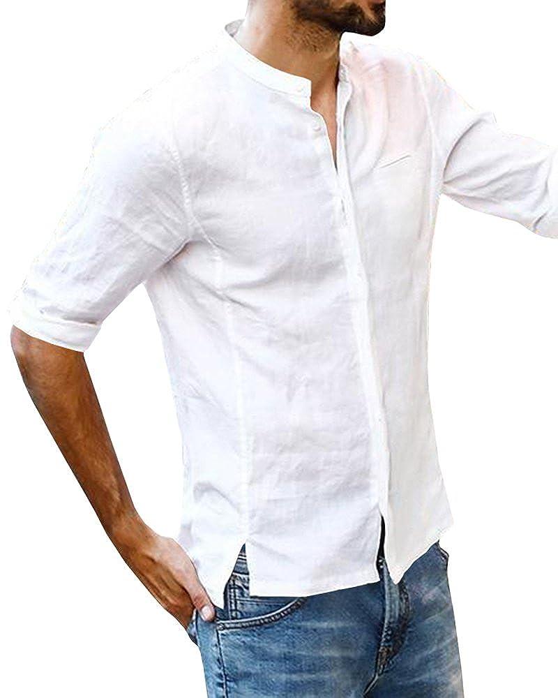 3de329df2aa Amazon.com  Ofenbuy Mens Linen Shirts Casual Button Down Long Sleeve Hippie  Summer T-Shirt  Clothing