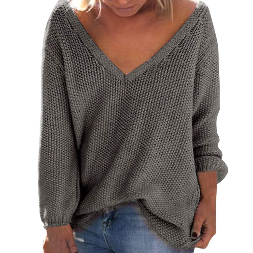 Respctful ♪☆ Women Ladies V-Neck Sweaters Long Sleeve Pullover Loose Casual Pullover Tops