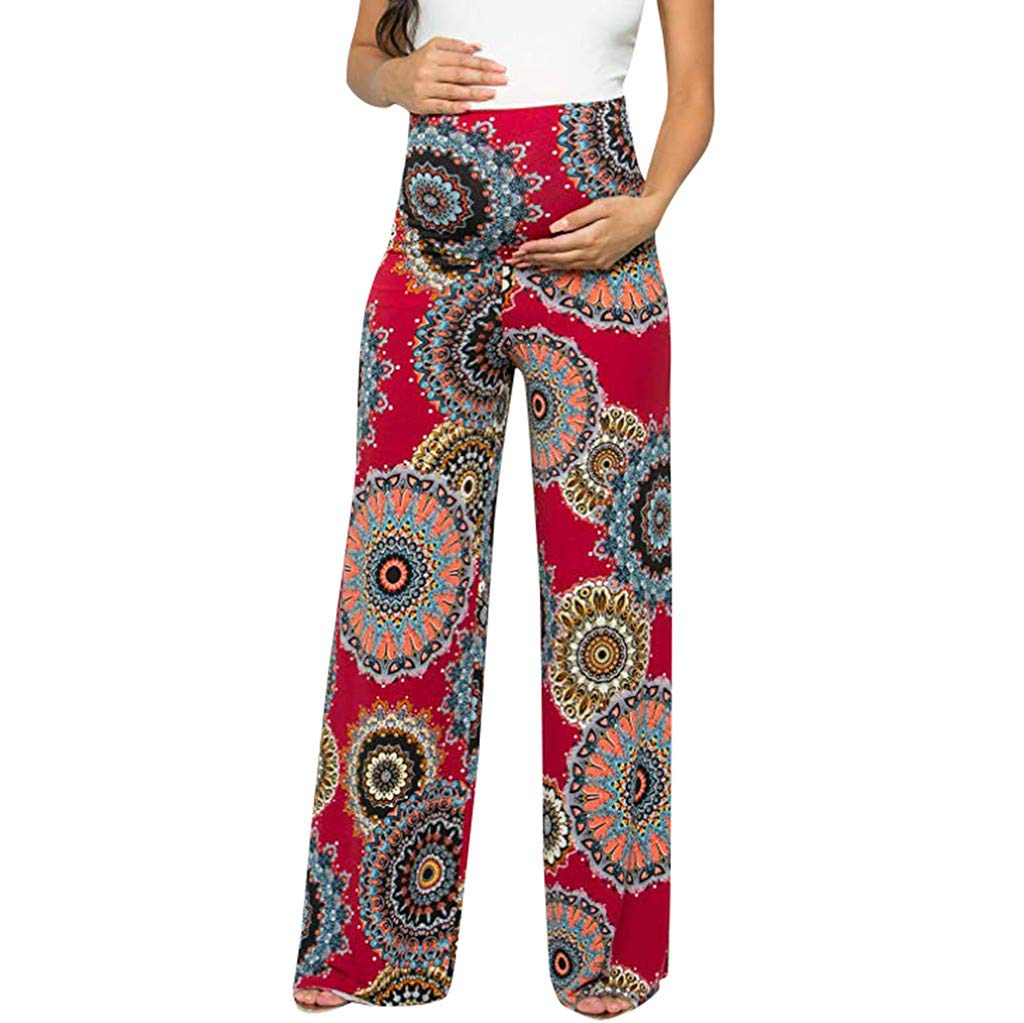 Maternity Leggings with Pockets,Women's Maternity Floral Easy Pants Pregnancy Trousers,Maternity Pants & Capris,Red,L