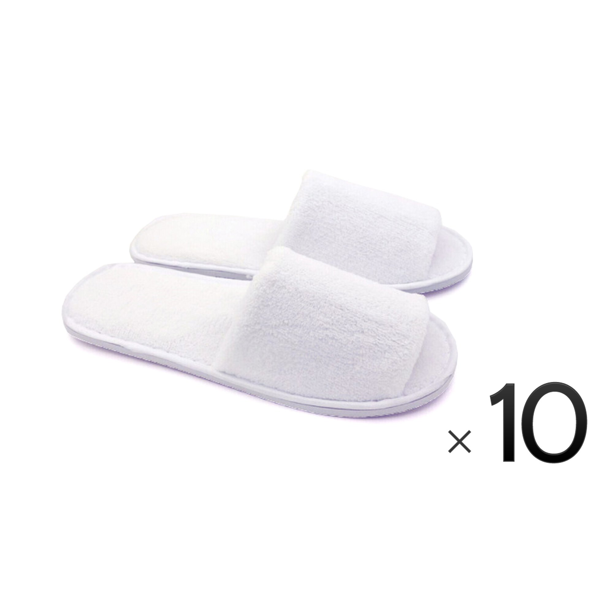 Luxurious Cotton Cloth Slipper Slippers Home Salon Spa Hotel Men Women Open Toes - 10 Pairs - White