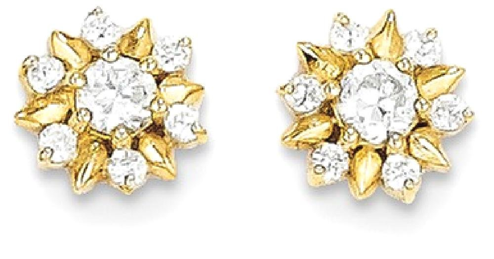 ICE CARATS 14k Yellow Gold Cubic Zirconia Cz Flower Post Stud Earrings Gardening Fine Jewelry Gift Set For Women Heart