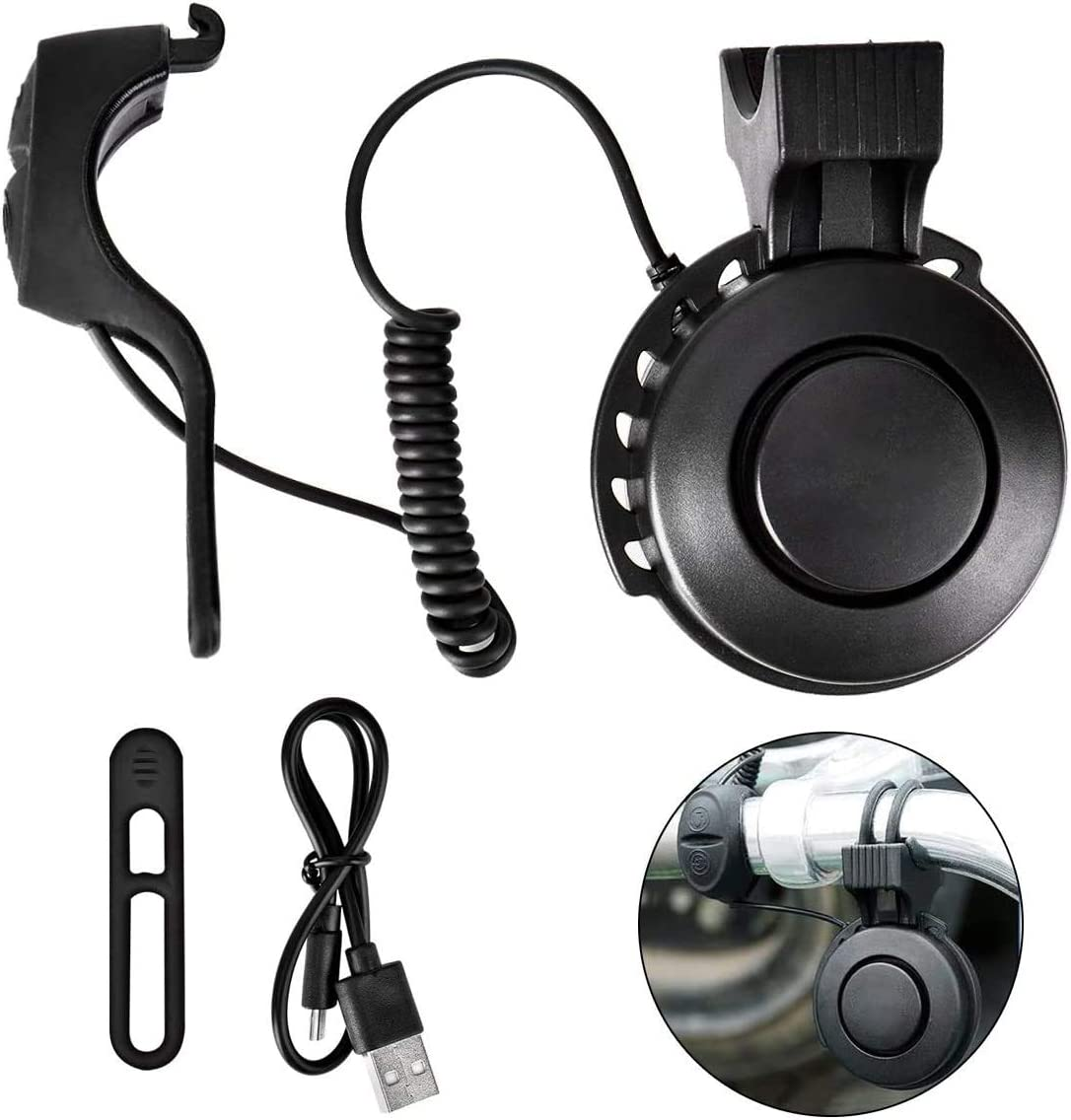 Queta – Timbre para bicicleta ajustable volumen eléctrico, timbre de bicicleta recargable por USB para MTB/bicicleta de carrera/BMX