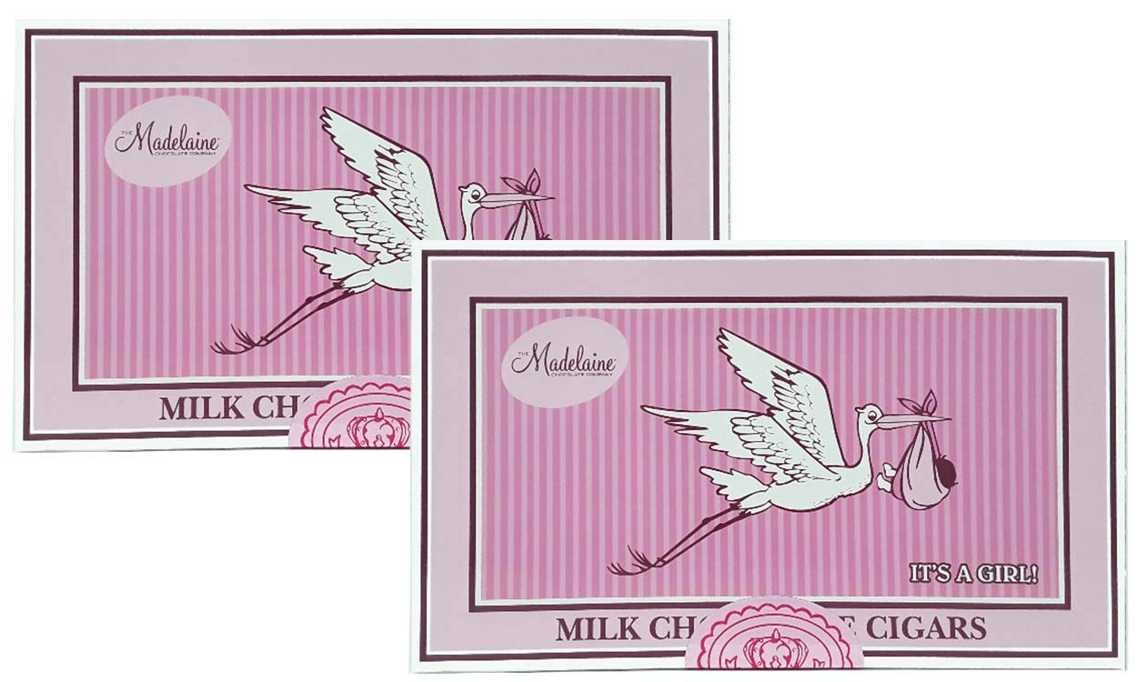 Madelaine Chocolates It's a Girl Gift Box - Solid Premium Milk Chocolate Cigars Wrapped In Pink Italian Foil - 24 Cigars - 2 Pack by THE MADELAINE CHOCOLATE COMPANY