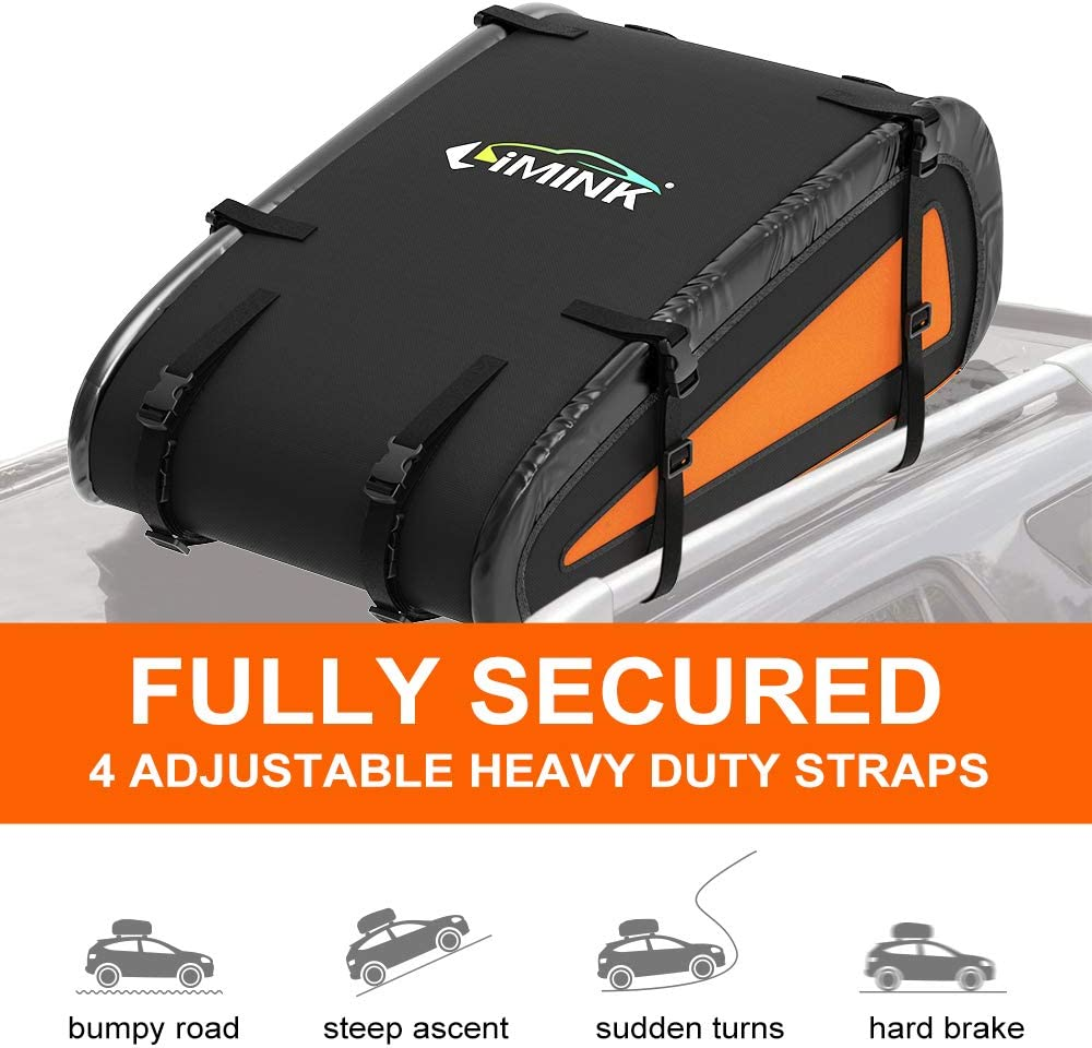 Soft Shell Luggage Storage Bag for Vehicles with Roof Racks LIMINK Rooftop Cargo Carrier Car Roof Bag with Heavy Duty Straps