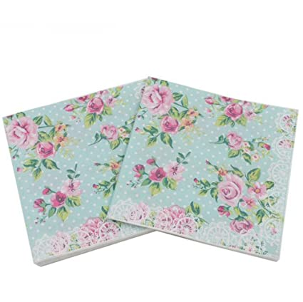 Gysad 5 paquetes (20 hojas/paquete) Servilletas papel flores Patrón de flores de
