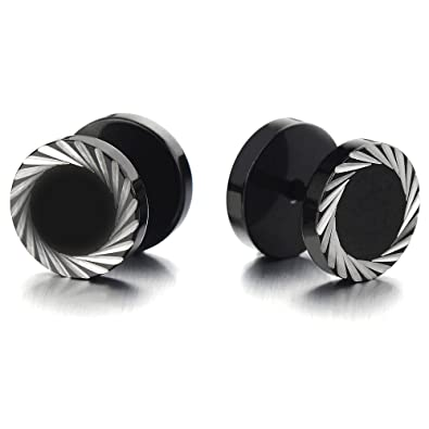 Mens Black Stud Earrings Stainless Steel Illusion Tunnel Fake Ear Plugs with Black Spike Cz, 2pcs
