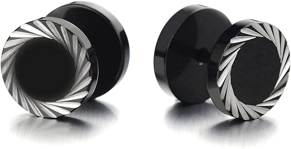 Finto Dilatatore Fake Plug Nero Orecchini da Uomo Acciaio Inossidabile con zirconi Nero