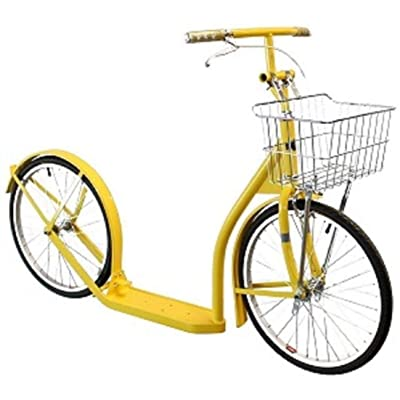"DuncaMontgo 20"" Adult Yellow Kick Scooter Bike w/Basket & Brakes : Sports & Outdoors"