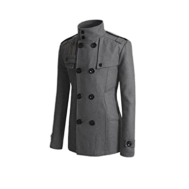 74d97c42836d HDH Men\'s British Jackets Slim Fit Double Breasted Half Trench Coat (Gray