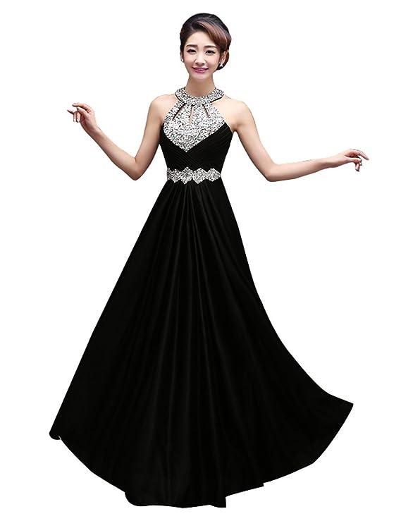 Amazon.com: Manfei Women\'s Prom Dress 2018 Beaded Long Formal ...