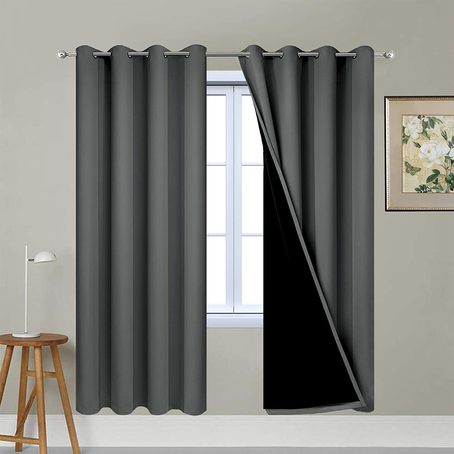 Yakamok 63 Inches Long Dark Gray 100% Blackout Curtains, Noise Reducing Window Drapes,Room Darkening Curtain Panels with Black Liners for Bedroom(Dark Grey, 2 Panels, 52W x 63L)