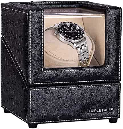 Single Watch Winder Newly Upgraded, with Flexible Plush Pillow, in Wood Shell and Black Leather, Japanese Motor, 4 Rotation Mode Setting, Fit Lady and Man Automatic Watch