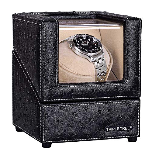 (Single Watch Winder Newly Upgraded, with Flexible Plush Pillow, in Wood Shell and Black Leather, Japanese Motor, 4 Rotation Mode Setting, Fit Lady and Man Automatic)