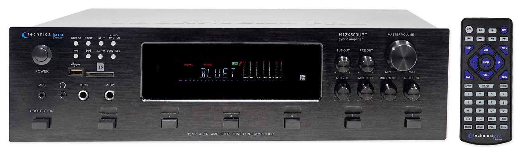Technical Pro H12X500UBT 6000w Professional Bluetooth Amplifier Receiver USB, SD