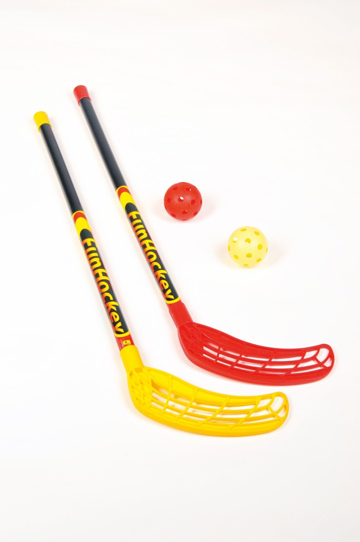 Bandito - Fun bâton de hockey Set - 1 x rouge et 1 x jaune - et 2 balles de tournoi funhockey