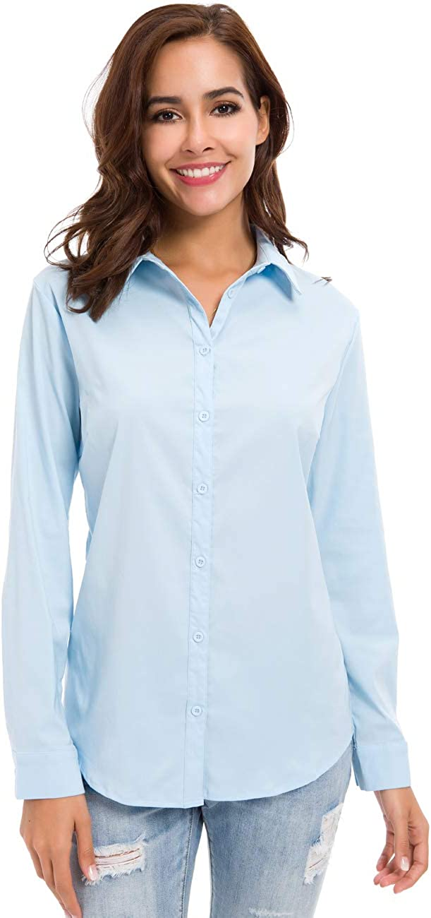Womens Button Down Basic Official Shirts Long Sleeve Simple Formal Blouse  Tops at Amazon Women's Clothing store