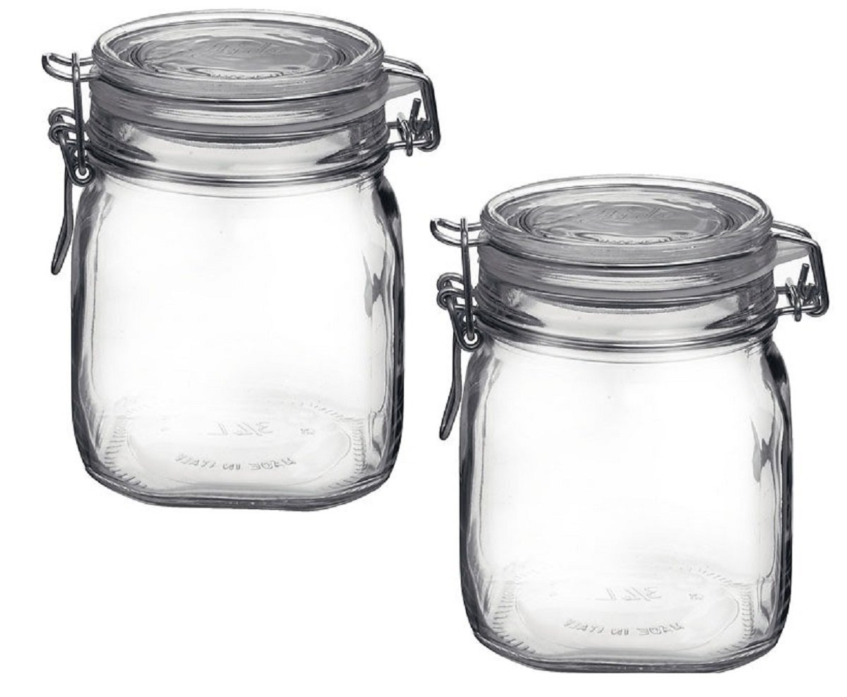 Bormioli Rocco Fido Clear Glass Jar with 85 mm Gasket , 0.75 Liter (Pack of 2)